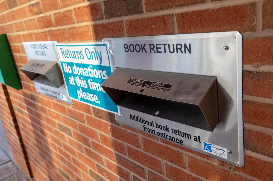 The book return at Wallingford Public Library, Mon., Jan. 4, 2021. Dave Zajac, Record-Journal
