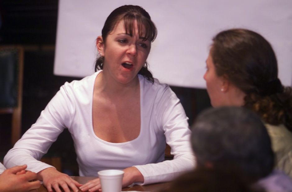 "Tracey Brown, left, argues with Jennifer Glover, right, during rehearsal for ""12 Angry Jurors"" Tues., Oct. 5 1999 at the Castle Craig Playhouse."