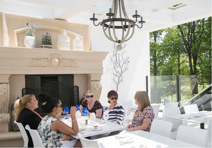 Customers enjoy lunch on the new rooftop patio at Cava in Southington, Thursday, May 18, 2017.  | Dave Zajac, Record-Journal