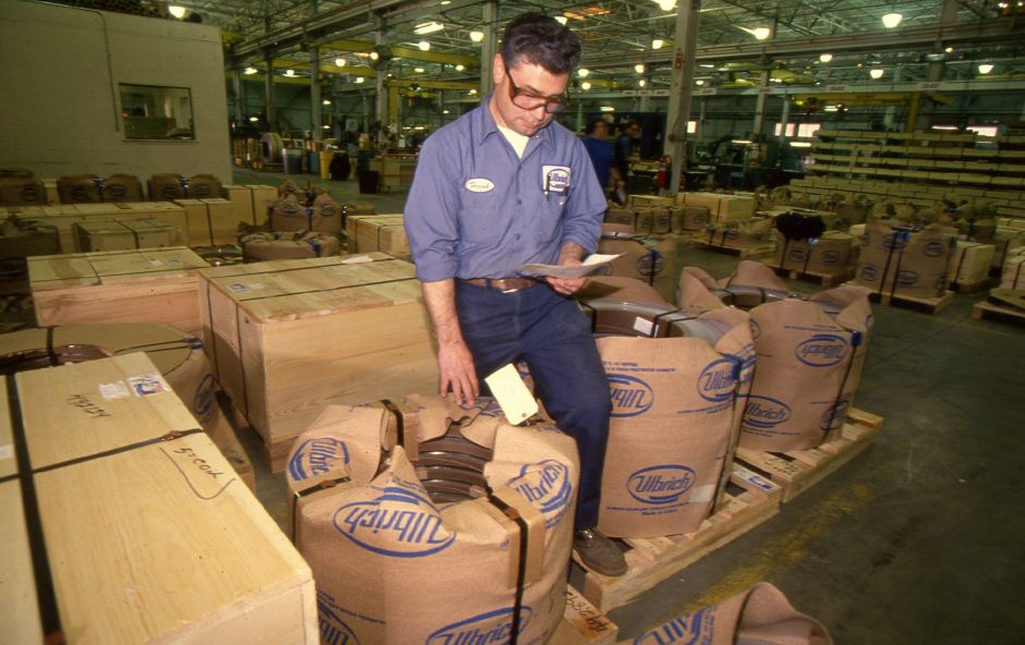 RJ file photo - Frank Jorge of the finishing department, oversees metal about to be shipped out at Ulbrich Stainless Steel & Special Metals Inc. in Wallingford, March 1994.