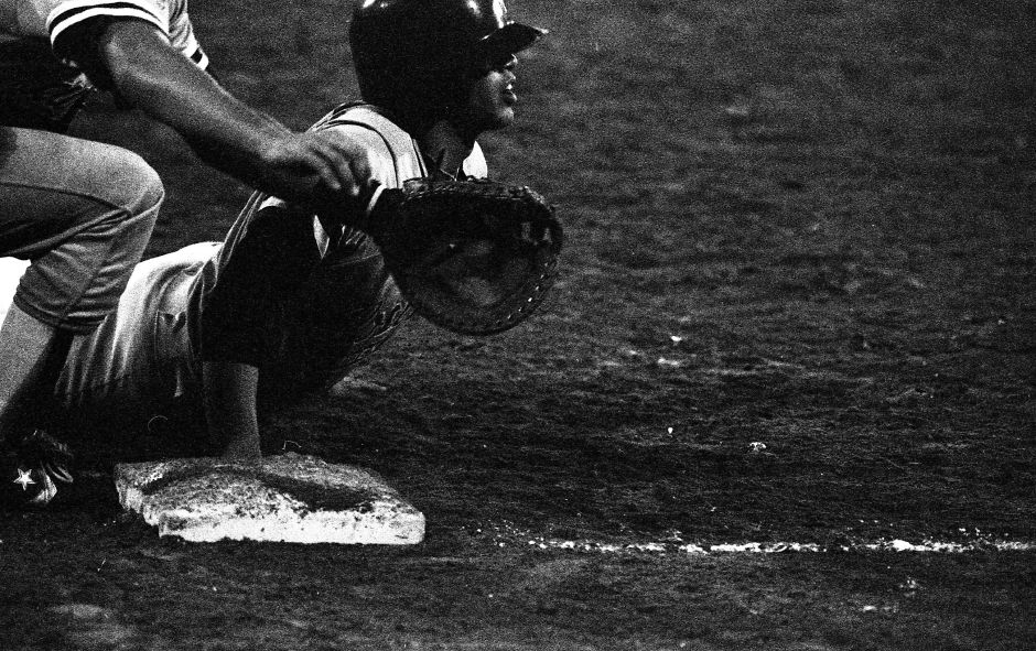 RJ file photo - Post 45s John DeMatteo drive back into first during a pickoff attempt Aug. 8, 1989.