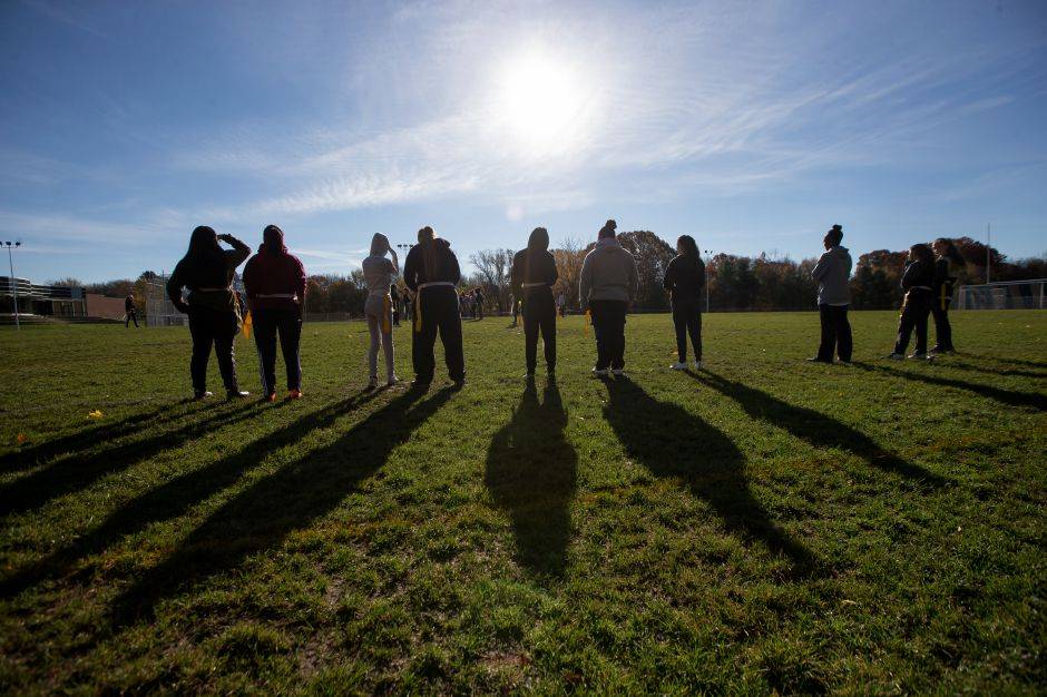 Sunday during Powder Puff practice at Platt High School in Meriden November 4, 2018 | Justin Weekes / Special to the Record-Journal