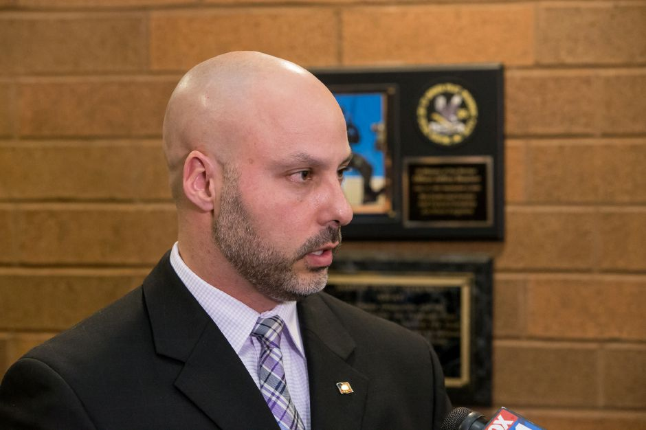 City Councilor Michael Cardona speaks at the Meriden Police Department in this 2018 file photo. Cardona chairs the Police Chief Search Committee and has asked for a public hearing to gather feedback on what qualifications the public wants to see in the next chief.