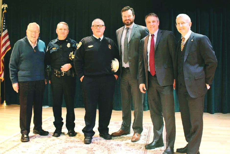Elim Park Chaplain, Wayne Dretzler; Cheshire Police Chief, Neil Dryfe; Cheshire Fire Chief, Jack Casner; Cheshire Town Manager, Sean Kimball; Elim Park CEO, Brian Bedard; and Elim Park CFO. Zell Gaston.