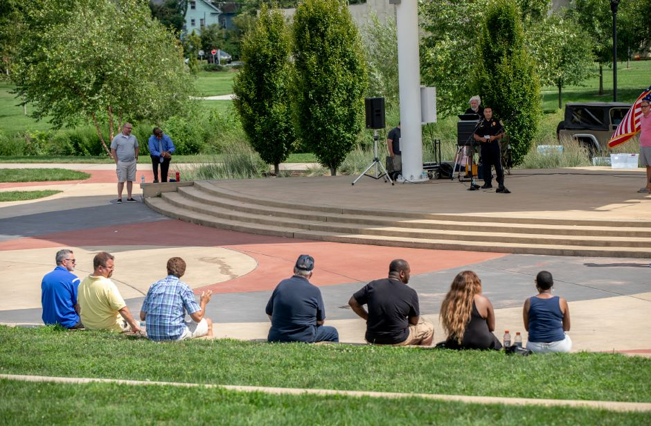 Meriden Police Chief Roberto Rosado spoke at an August 9, 2020 rally held on the Meriden Green where police and activists spoke about how to improve policing in the city. Rosado said the department has been focusing on reducing a surge in violence in the city this summer and recently made arrests and seized weapons, which he believes will reduce the violence. | Devin Leith-Yessian/Record-Journal