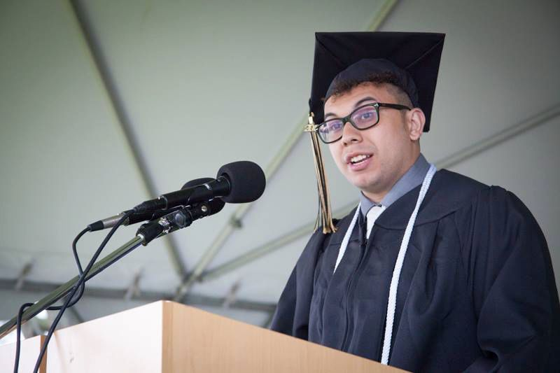 Abraham Texidor Jr. speaks at his graduation for his Fine Arts degree from Middlesex Community College in May of 2017. Photo courtesy of Middlesex Community College Marketing Team.