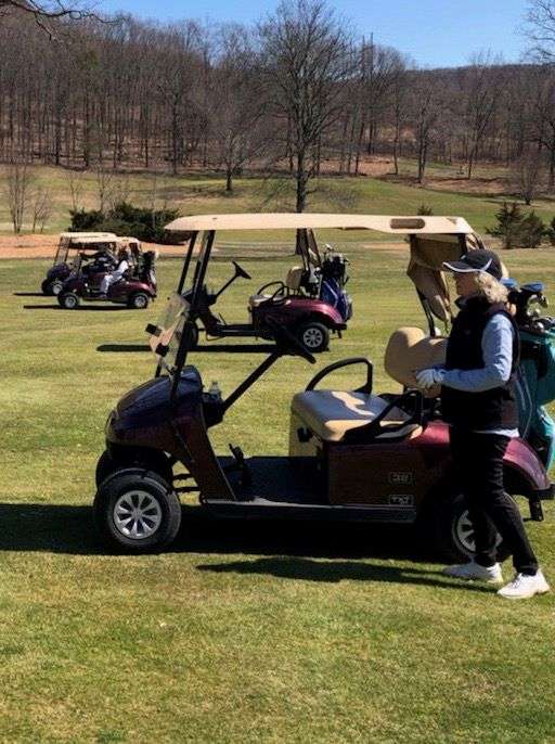 This group was following social distancing recommendations during its morning round at Hunter Golf Course last Thursday morning. Not everyone followed social distancing recommendations, however, and it led to Hunter being closed on Monday. | Photo courtesy of Mara Dunleavy