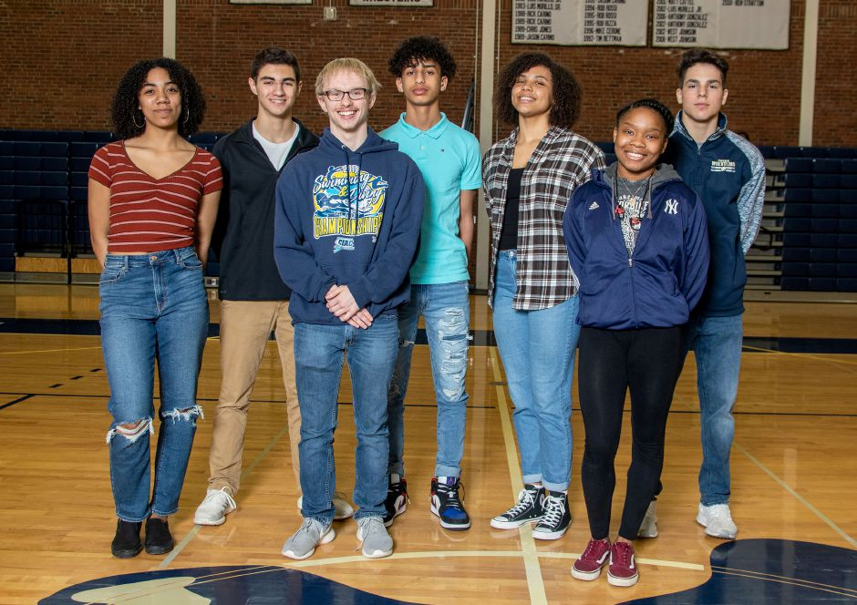 Platt's Record-Journal Scholar-Athletes for the 2019-20 winter season are, from left to right, Gabriella Ramos, Aiden Annino, Alex Flynn, Anthony Nimani, Aaliyah Burnley, Nadia James and Mathew Merrigan. Aaron Flaum, Record-Journal