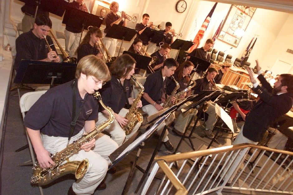 Richard Sancoucy, right, directs the lyman Hall High School Jazz Band Mon., Jan. 15, 2001 at Town Hall.