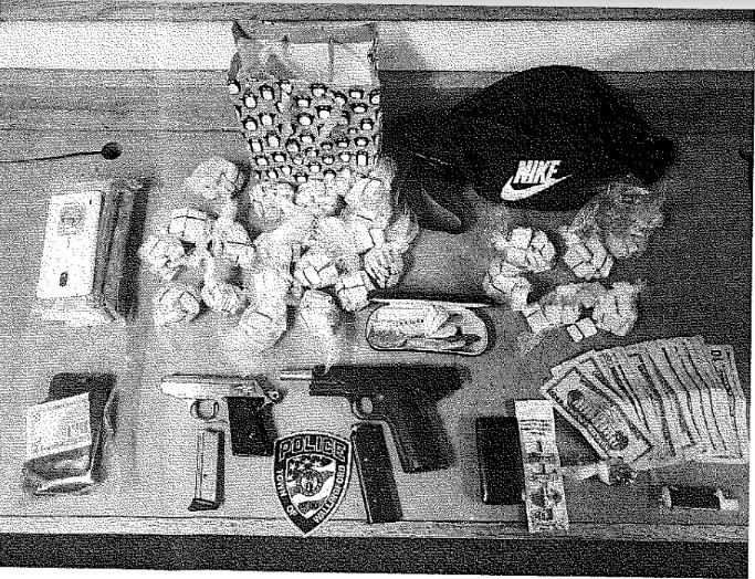 Drugs, cash and handguns found during a traffic stop in Wallingford on Feb. 4, 2020. Courtesy of the Wallingford Police Department