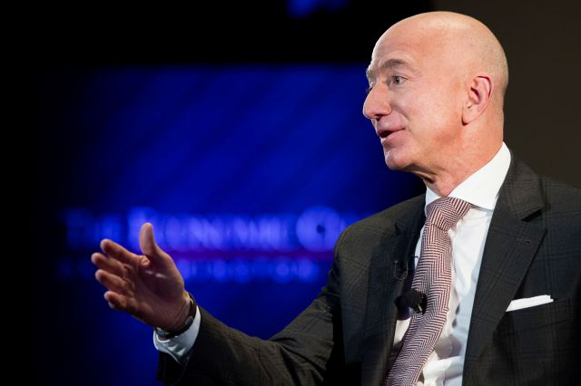 FILE- In this Sept. 13, 2018, file photo Jeff Bezos, Amazon founder and CEO, speaks at The Economic Club of Washington