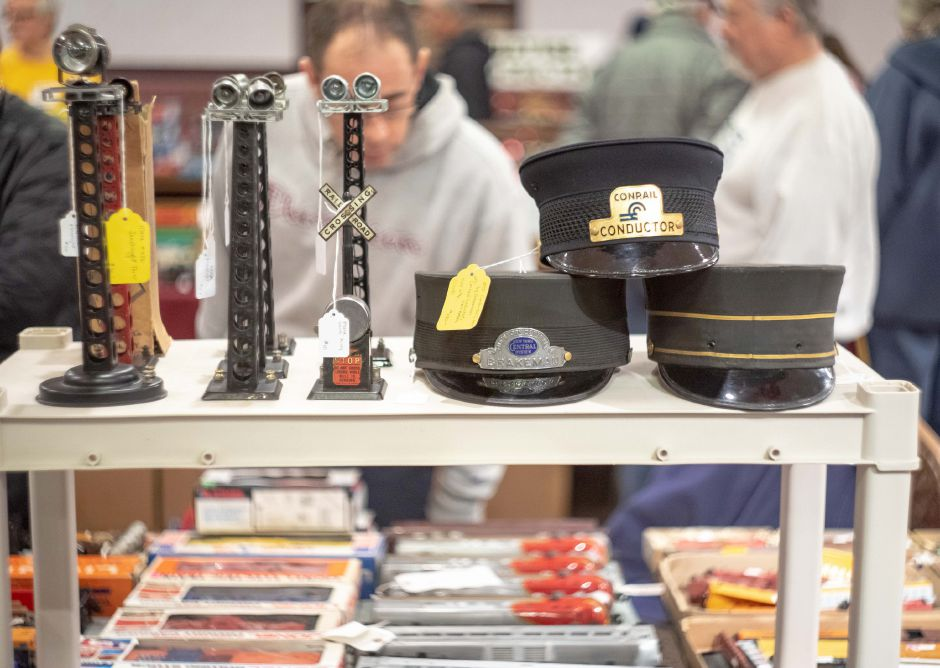 Conductor hats on display at the Train and Toy Show held by Classic Shows LLC at Zandri