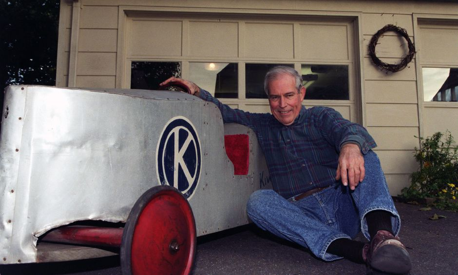 Lauren Humpage sits with his soap box from 1950 Oct. 12, 1999. He and his father and uncle built it and he raced it in the 1950 Soap Box Derby in Meriden.