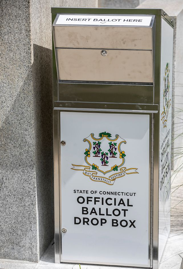 A new ballot drop box installed on the south side of Meriden City Hall, Tues., Jul. 14, 2020. Dave Zajac, Record-Journal