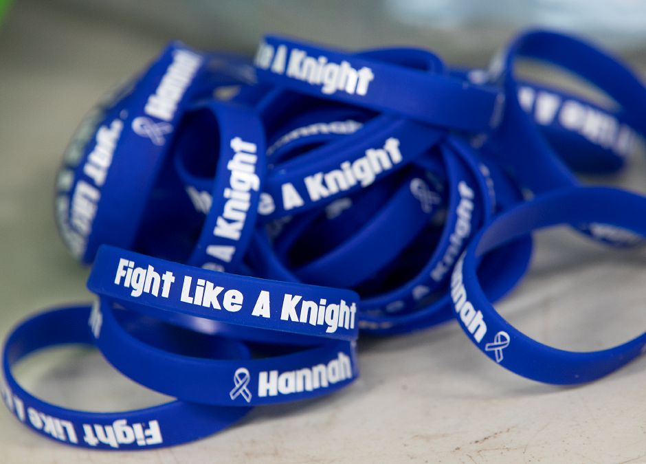 Bracelets being sold to raise funds for Hannah Sousa at Southington High School, Thursday, April 5, 2018. Students on the school's track team are rallying in support of Sousa who is receiving treatment for leukemia. The bracelets are available during the school