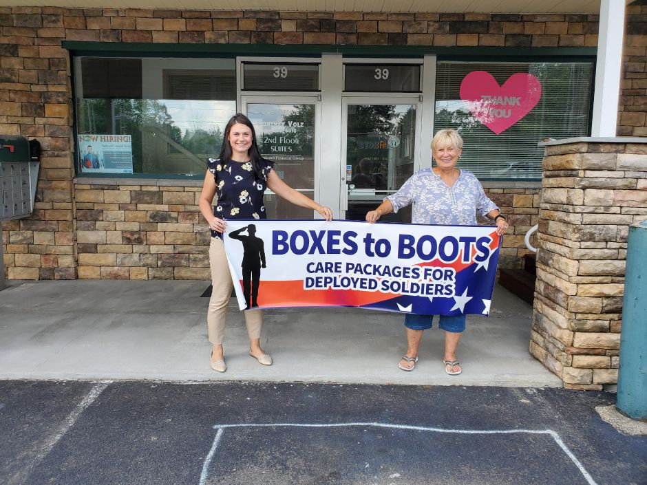 Boxes to Boots president Kristen Gauvin poses for a photo with Boxes to Boots founder Karen Cote. The Berlin-based non-profit is hoping to send 700 Hero Boxes overseas this summer to troops. | Submitted photo.