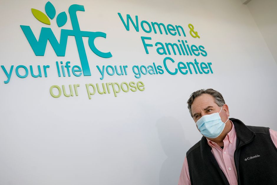 Wayne Valaitis, chief executive officer of the Women and Families Center, talks on Tuesday about the center